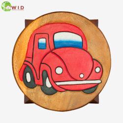 children's wooden stool car red uk
