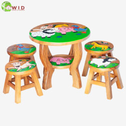children's wooden stool and table farm house set uk