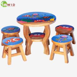 children's wooden stools and table ocean set uk
