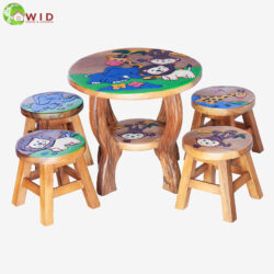 children's wooden stools and table jungle set uk