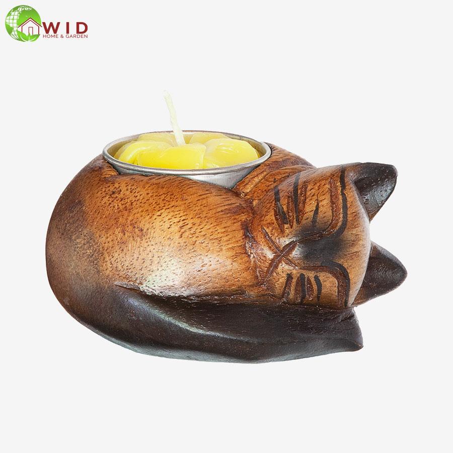 Wooden Cat tea light candle holder