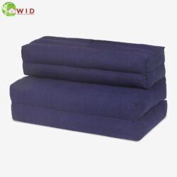 Double Folded Meditation Seat cotton linen fabric plain dark blue UK