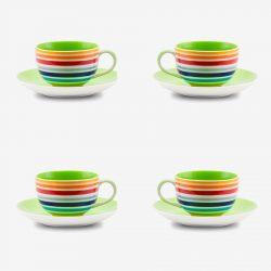 Rainbow small cup saucer x 4