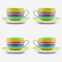 Rainbow large cup and saucer x 4