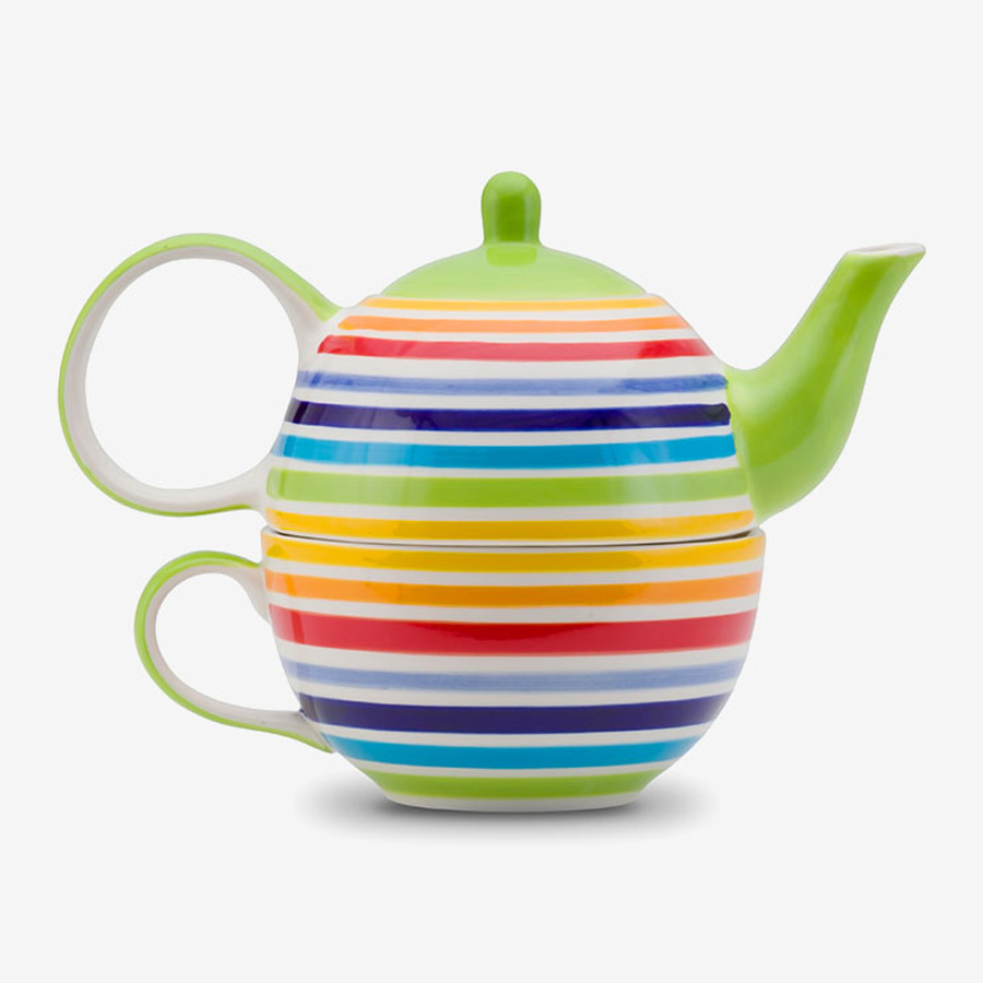 Rainbow teapot and cup for one