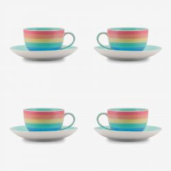 Rainbow pastel small cup saucer x 4