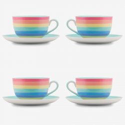Rainbow large cup and saucer Pastel x 4