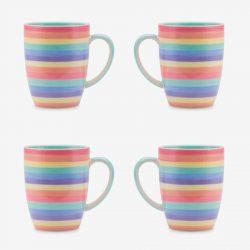Rainbow mug 10oz Pastel set of 4