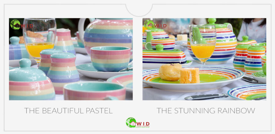 Exclusive rainbow ceramic tableware sets