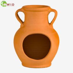 Terracotta vase jug made from terra-cotta. Waterways Garden Centre, UK