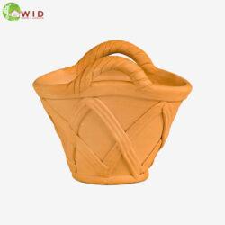 Terra-cotta basket garden pot. UK