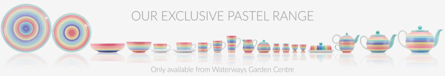 Rainbow ceramic tableware. UK