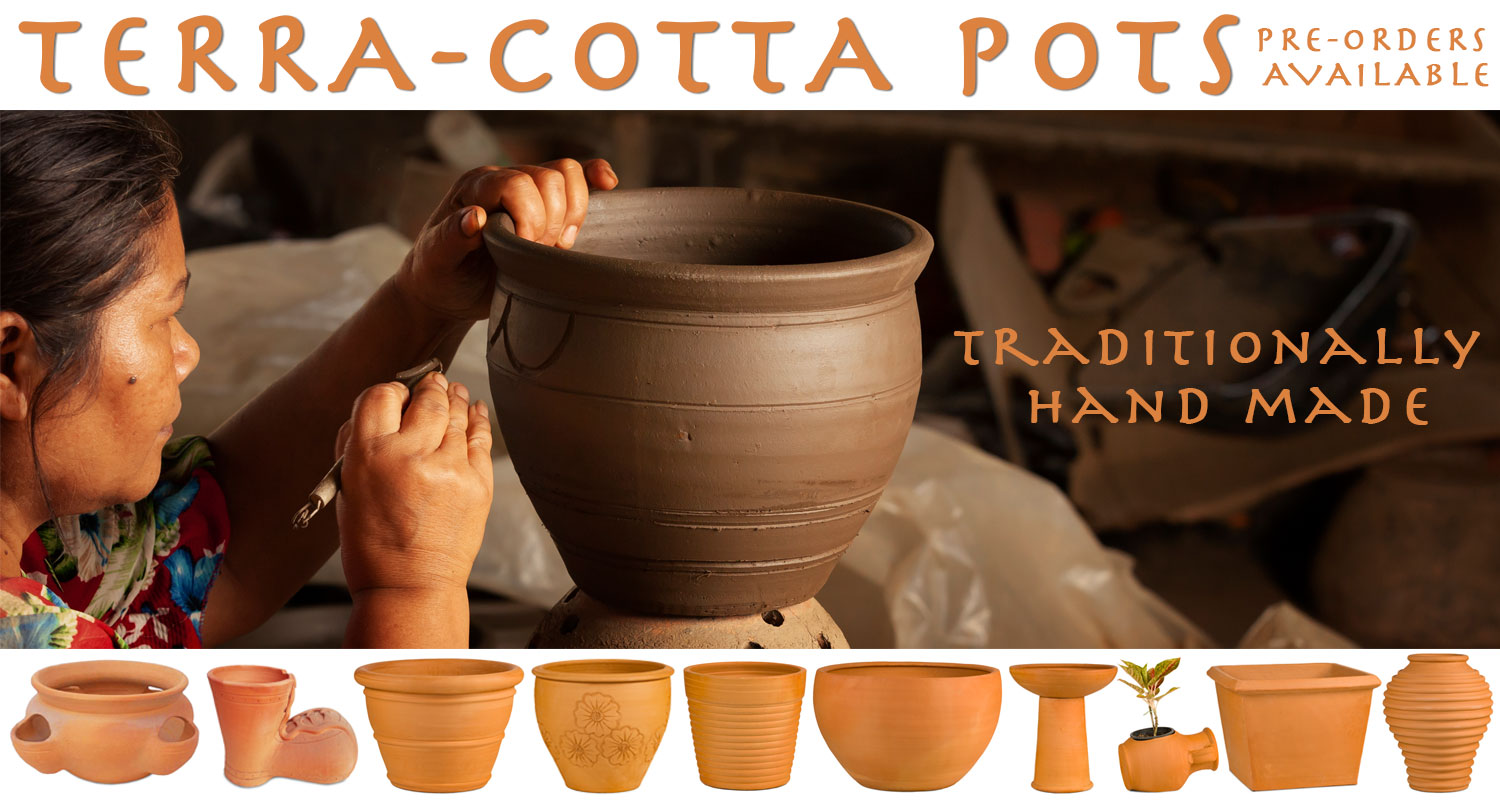 Terracotta handmade pots from waterways garden centre. UK