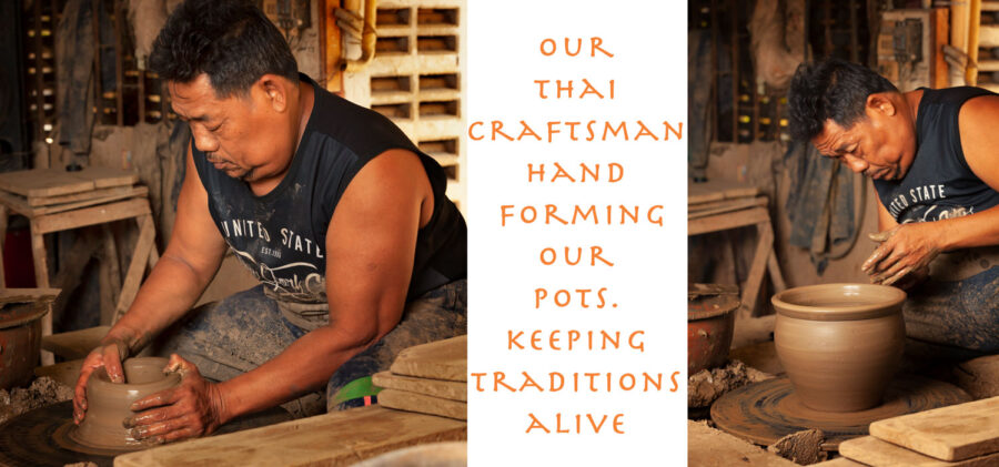 hand making pots in Thailand. uk