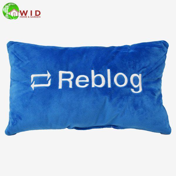 BLUE REBLOG PILLOW