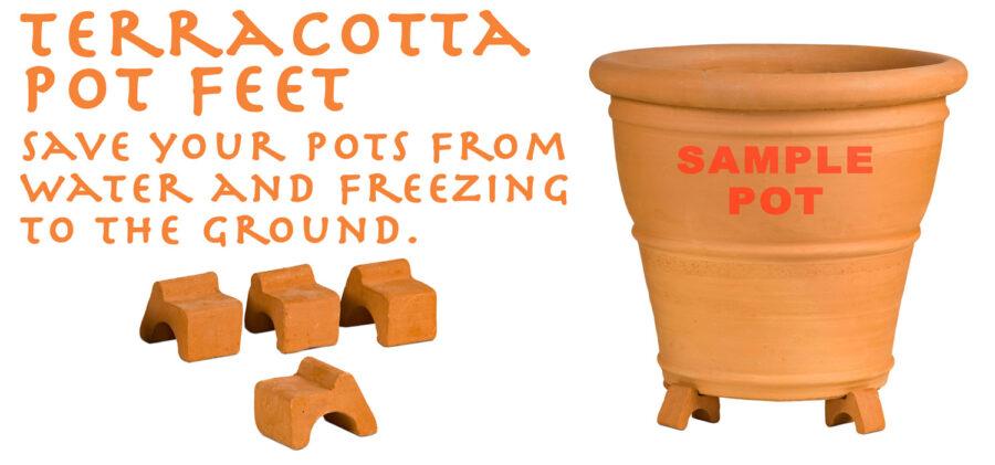 terracotta pot feet at Waterways Garden Centre. uk