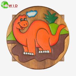 children's wooden stool orange dino