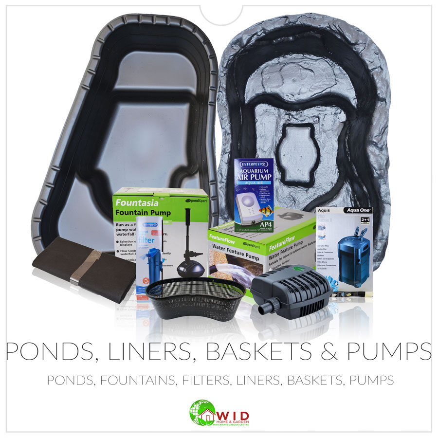 Ponds, liners, baskets, fountains and pumps online