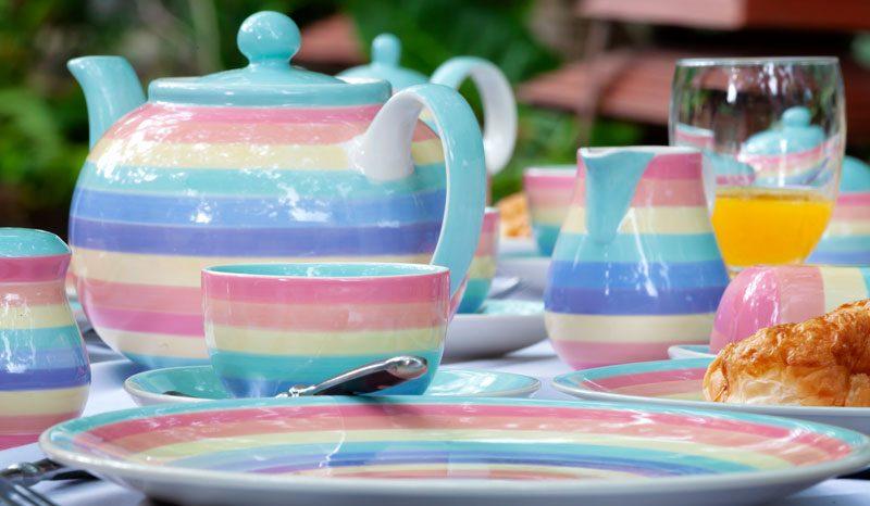 Rainbow pastel dinner sets