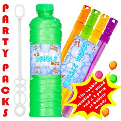 party pack 1 ltr bubble soloution with 4 wands uk
