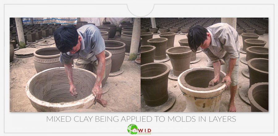 Clay being layered into molds
