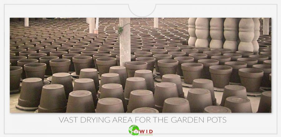 Drying area for the garden pots