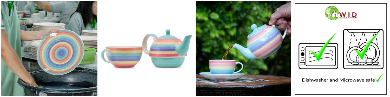 Rainbow pastel dinnerware