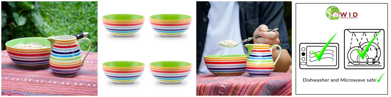 Bright rainbow table items. UK